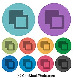 Subtract shapes darker flat icons on color round background