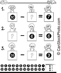subtraction education game color book - Black and White...