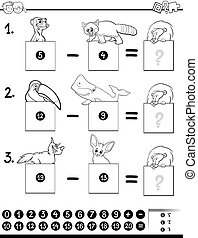 subtraction education game coloring book - Black and White...