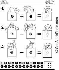 subtraction educational game coloring book - Black and White...