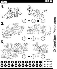 Black and White Cartoon Illustration of Educational Mathematical Subtraction Puzzle Task for Children with Dogs Coloring Book Page