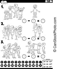 subtraction educational task with kids color book page - ...