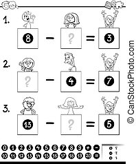 subtraction game coloring book with kids - Black and White...