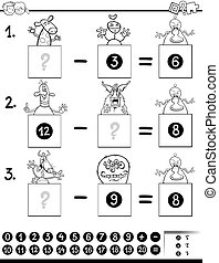 subtraction game coloring book with monsters - Black and...
