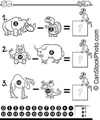 subtraction game coloring page - Black and White Cartoon ...