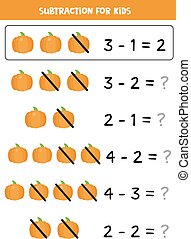 Subtraction with cartoon vector pumpkin. Educational math game.