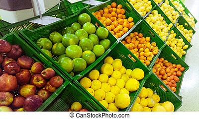 subtropical, marché, fruits