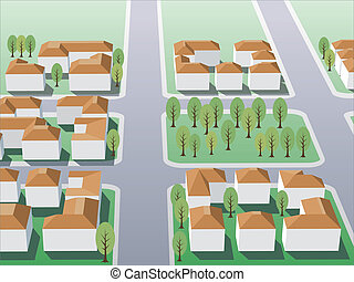 Suburb 2 - Illustration of suburb buildings design for real...
