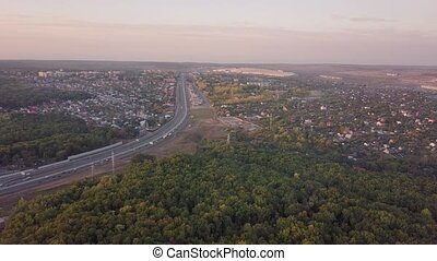 Suburb road aerial - Countryland road suburb town aerial...