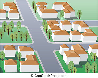 Suburb - Illustration of suburb buildings design for real...