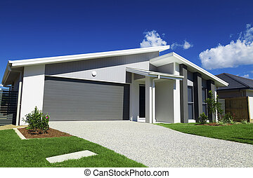suburbain, australien, maison