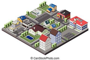 suburbain, concept, isométrique