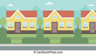 suburbain, house., fond