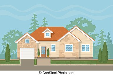 suburbain, maison, traditionnel