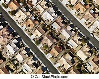 suburbain, maisons, aerial.