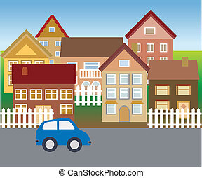 suburbain, maisons, dans, calme, voisinage