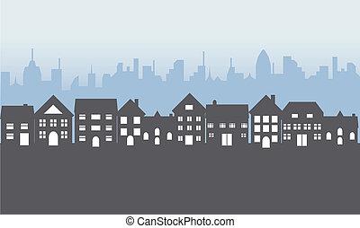 suburbain, maisons, soir