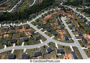 suburbain, rues, aérien