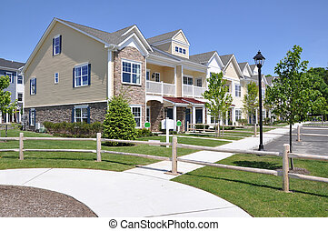 suburbain, voisinage, résidences