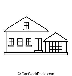 Suburban american house icon, outline style