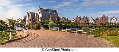 Suburban area with modern family houses