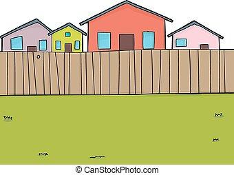 Suburban Backyard Background - Hand drawn suburban backyard...