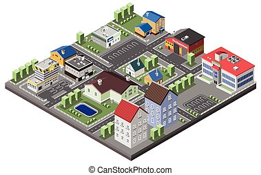 Suburban concept with house apartments and government buildings 3d isometric decorative icons vector illustration