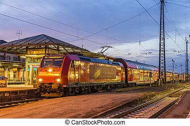 Suburban electric train at Offenburg railway station. Germany -