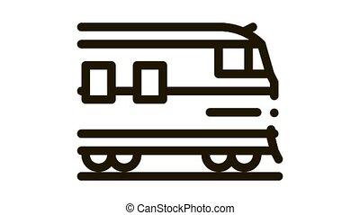 suburban electric train Icon Animation. black suburban electric train animated icon on white background