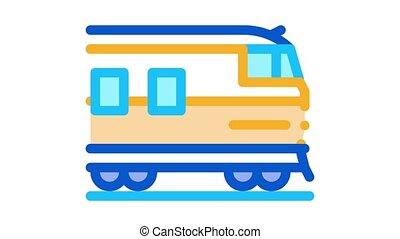 suburban electric train Icon Animation. color suburban electric train animated icon on white background