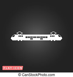 Suburban electric train. White flat simple vector icon on black background