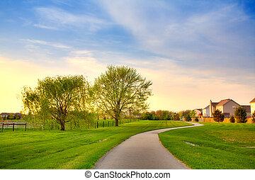 Suburban evening - Quiet summer evening scene in suburban...