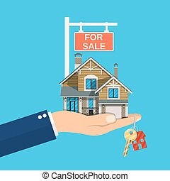 Suburban family house set in hand. Countryside wooden and brick house icon. Key. For sale placard. Real estate. Vector illustration in flat style