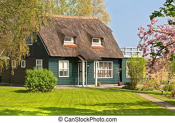 Suburban home front porch at spring