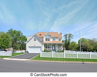 Suburban Home White Picket Fence