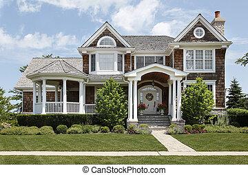 Suburban home with white columns