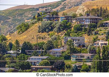 Suburban homes on Salt Lake City hill