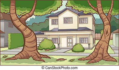 Suburban cartoon house background. Vector clip art illustration with simple gradients. Some elements on separate layers.