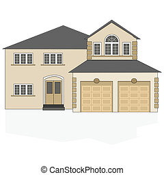 Suburban house - Illustration of a fancy North American...