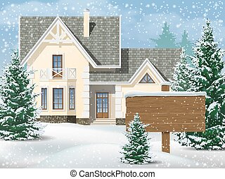 Suburban house in snow