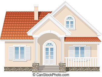 suburban house isolated - suburban house with a red tile...