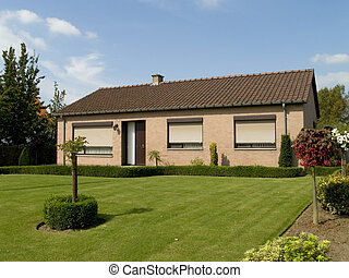 Suburban house. - Rural suburban house with garden in ...