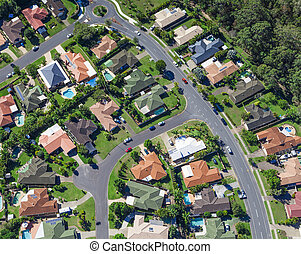 Suburban houses - Aerial view of  australian suburban houses