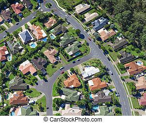 Suburban houses - Aerial view of  australian suburban houses