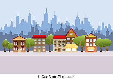 Suburban houses and city in the background