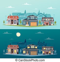 Suburban houses horizontal banners with colorful cottages at day and night time vector illustration
