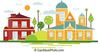 Suburban houses, summer urban landscape vector illustration in flat style