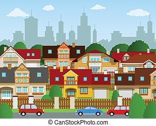 Vector illustration of suburban houses (summer)