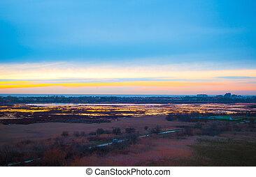 landscape at blue hour