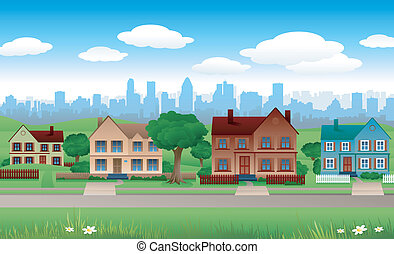 suburban landscape - city house background real estate...